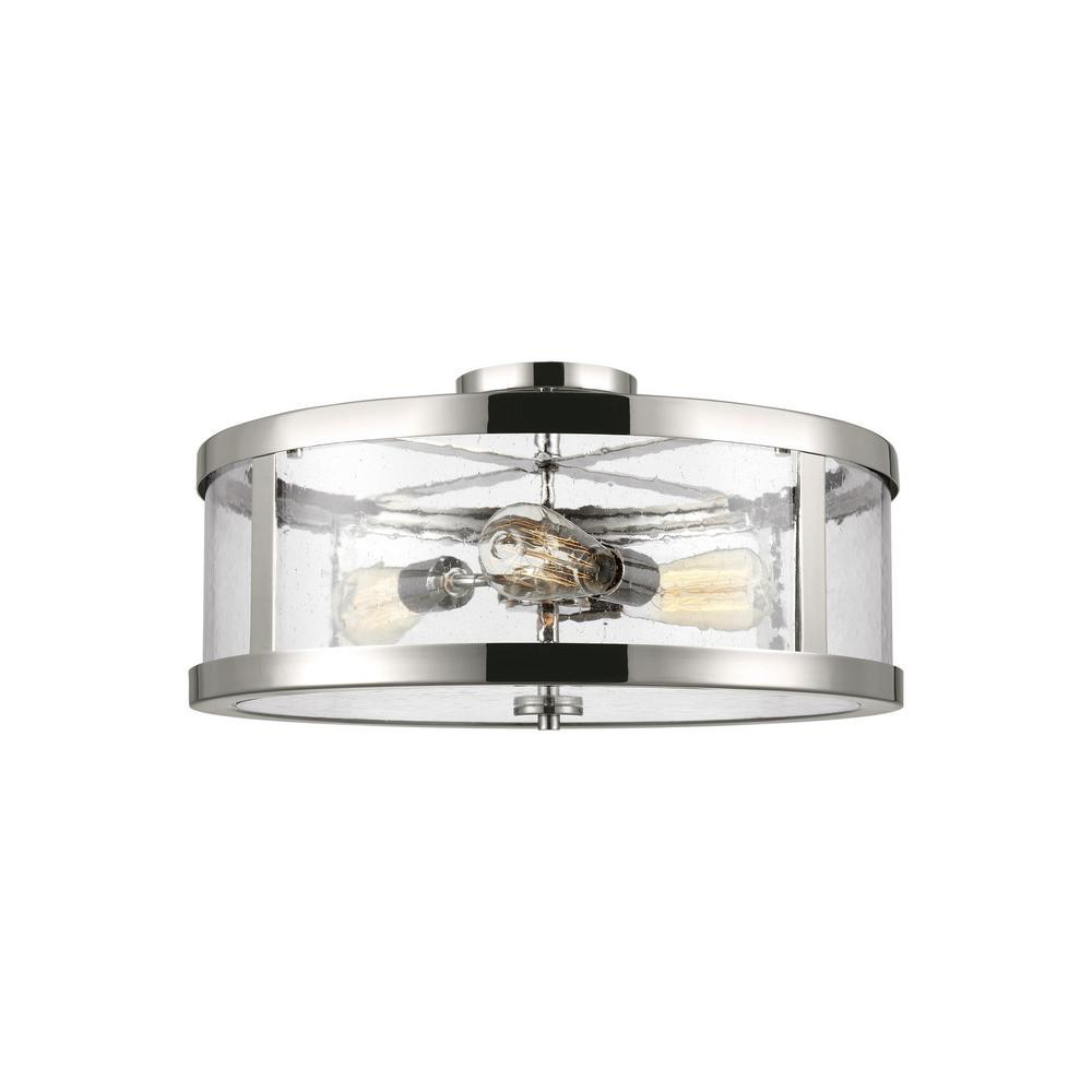 Harrow 3-Light Polished Nickel Semi-Flushmount