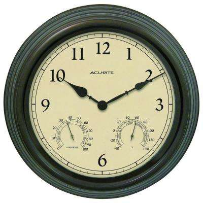 15 in. Combination Thermometer and Hygrometer Plastic Wall Clock