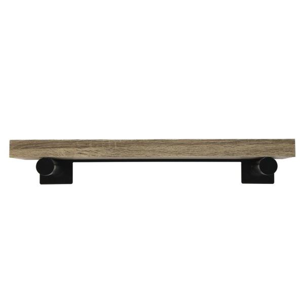 inPlace 24 in. W x 8 in. D x 1.5 in. H Light Brown Driftwood Wall Mounted Shelf with Black Brackets