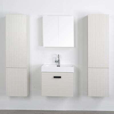 23.6 in. W x 18.1 in. H Bath Vanity in Gray with Resin Vanity Top in White with White Basin and Mirror