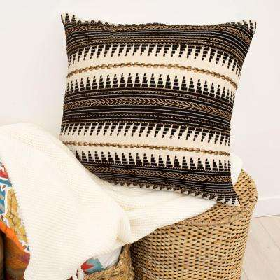 Jayce Black and Bronze Hand Beaded Decorative Pillow