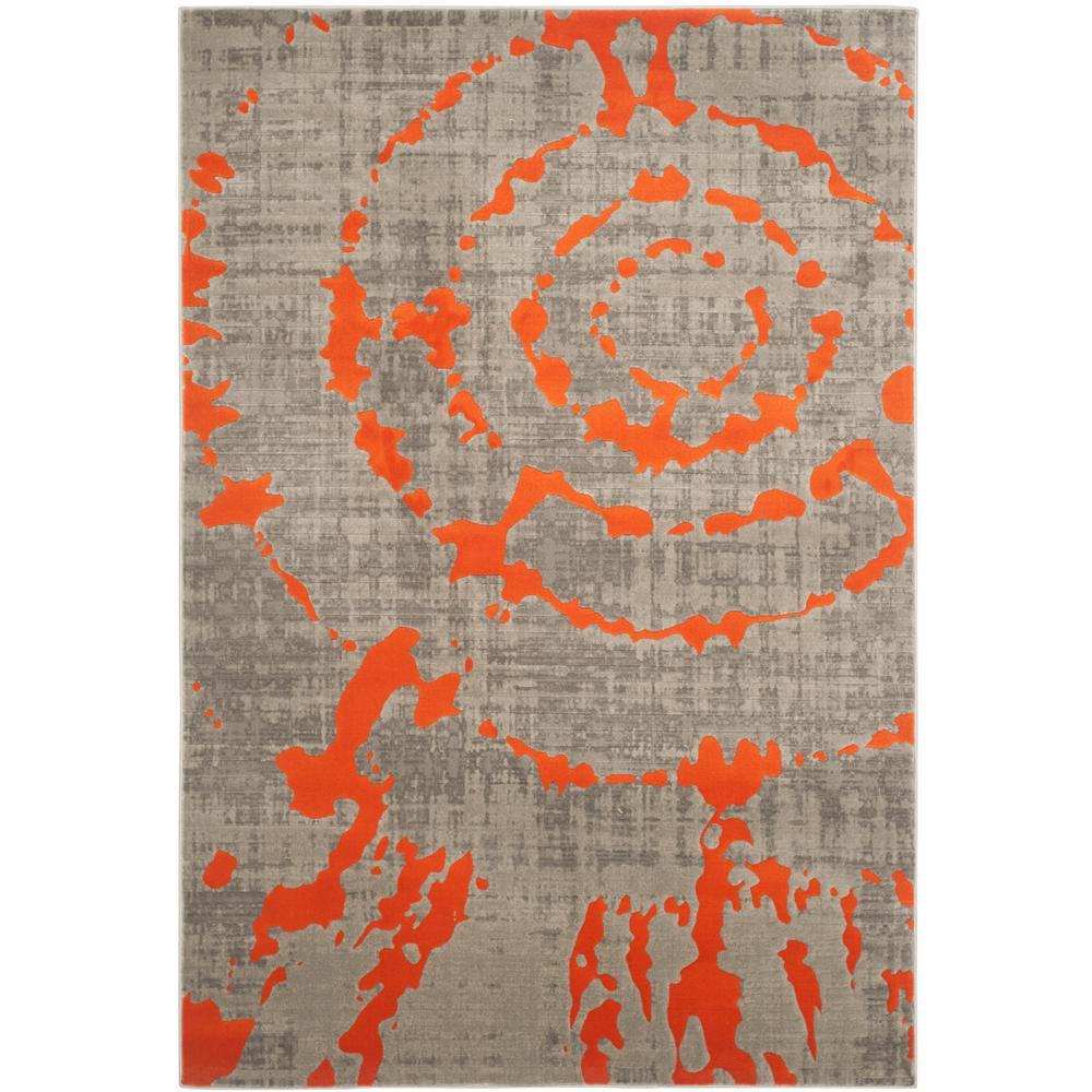 Safavieh Porcello Light Gray/Orange 4 ft. x 6 ft. Area Rug