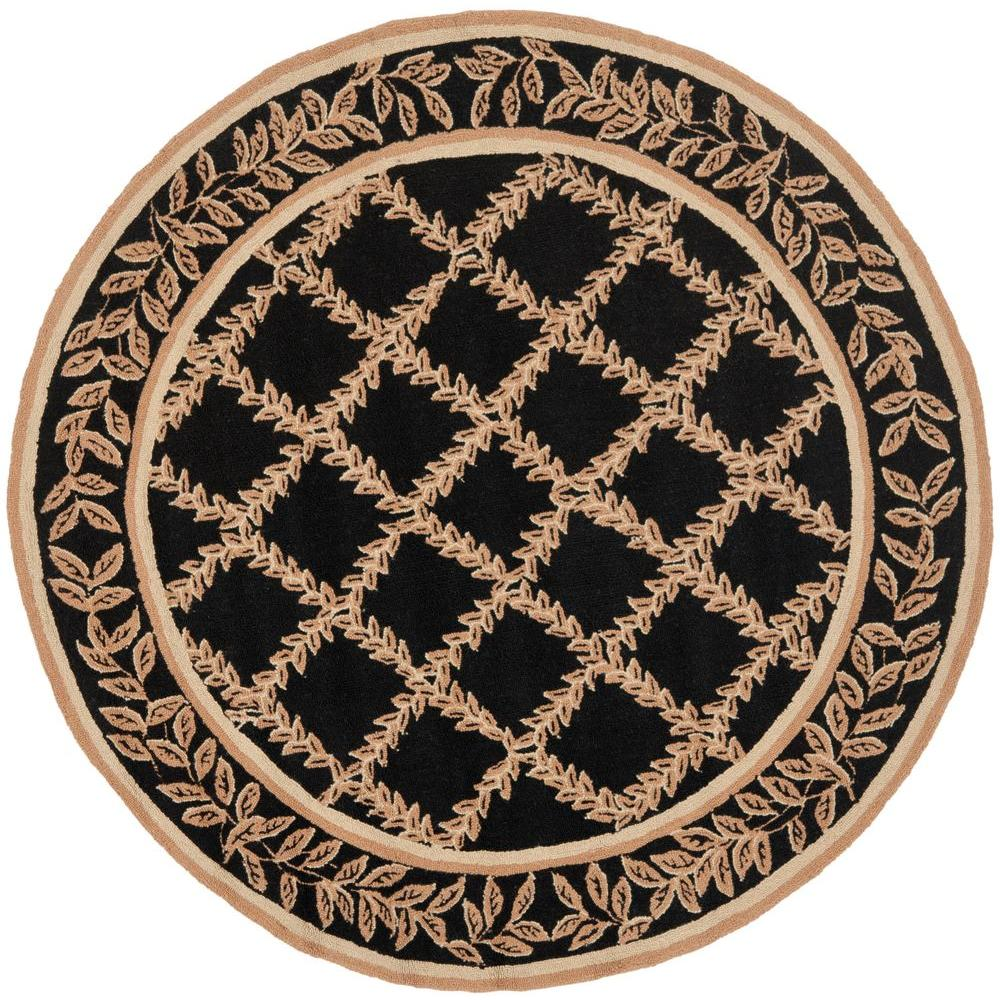 safavieh chelsea black gold 4 ft x 4 ft round area rug hk230d 4r the home depot. Black Bedroom Furniture Sets. Home Design Ideas