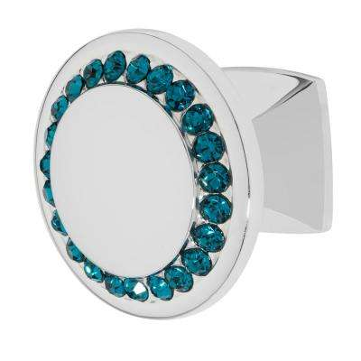 Isabel 1-1/4 in. Chrome with Ocean Blue Crystal Cabinet Knob