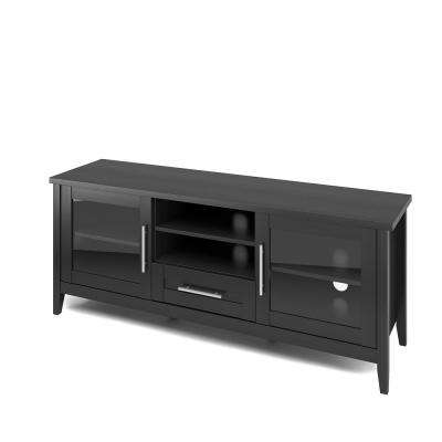 Jackson TV Bench in Black Wood Grain for TVs up to 65 in.
