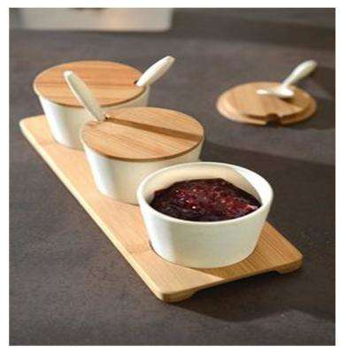CooknCo Bamboo Jar Set in Cream (10-Piece)