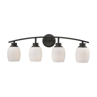 Casual Mission 4-Light Oil Rubbed Bronze with White Lined Glass Bath Light