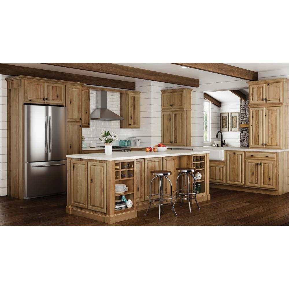 Hampton Bay Hampton Assembled 36x34 5x24 In Base Kitchen Cabinet With Ball Bearing Drawer Glides In Natural Hickory Kb36 Nhk The Home Depot