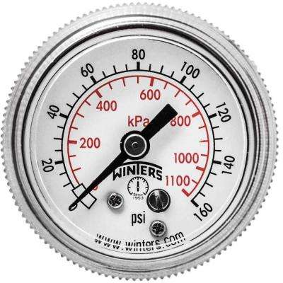 P9S 90 Series 1.5 in. Black Steel Case Pressure Gauge with 1/8 in. NPT Center Back Connect and Range of 0-160 psi/kPa