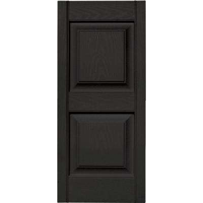 15 in. x 35 in. Raised Panel Vinyl Exterior Shutters Pair in #002 Black