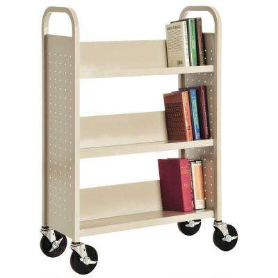 32 in. W x 14 in. D x 46 in. H Single Sided 3-Sloped Shelf Booktruck in Putty