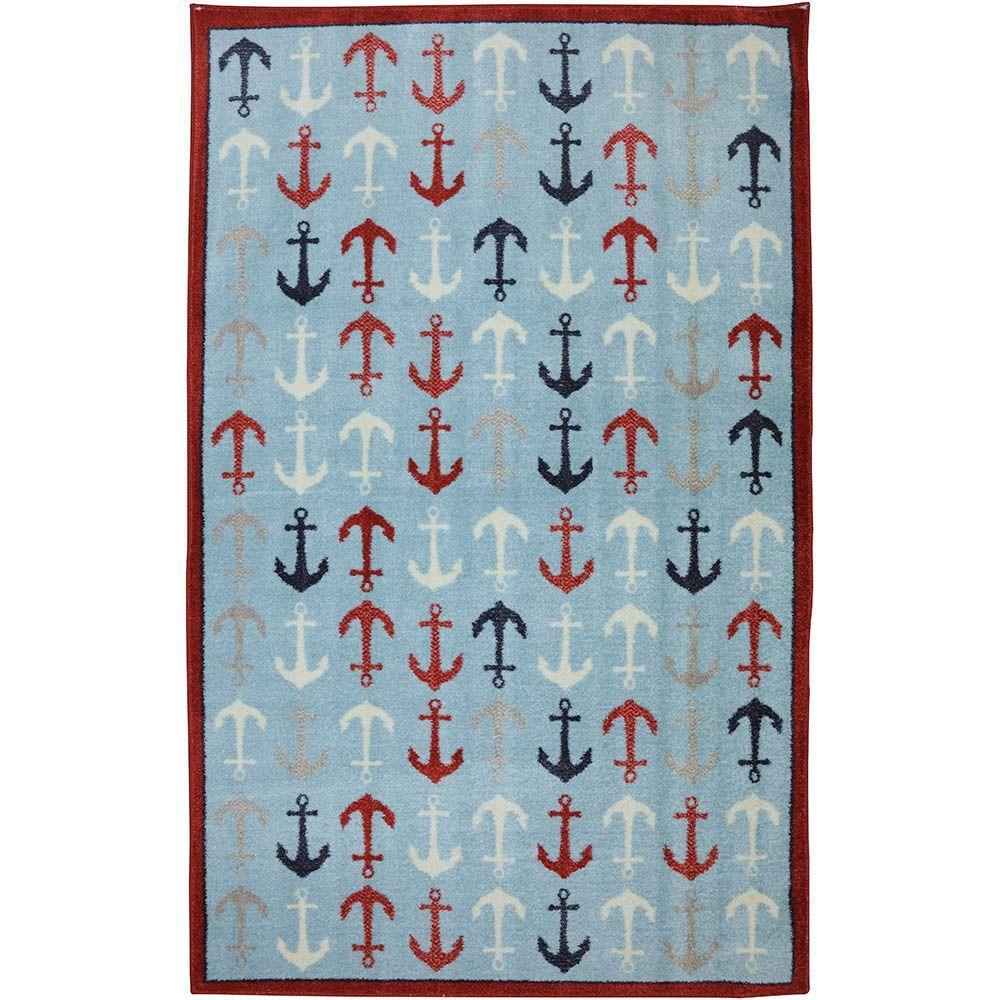 American Rug Craftsmen Anchors Blue 8 ft. x 10 ft. Area Rug