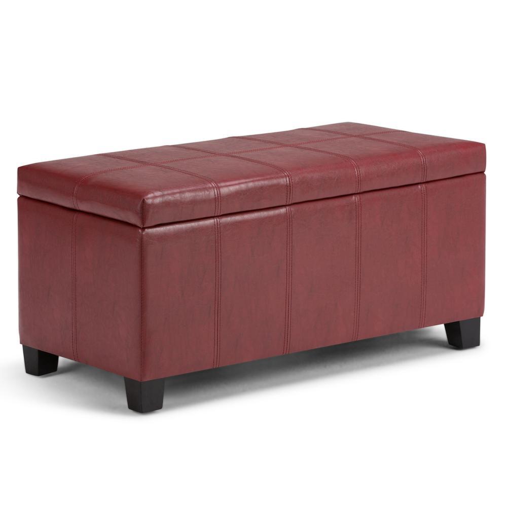 Simpli Home Dover 36 in. Contemporary Storage Ottoman in Radicchio Red