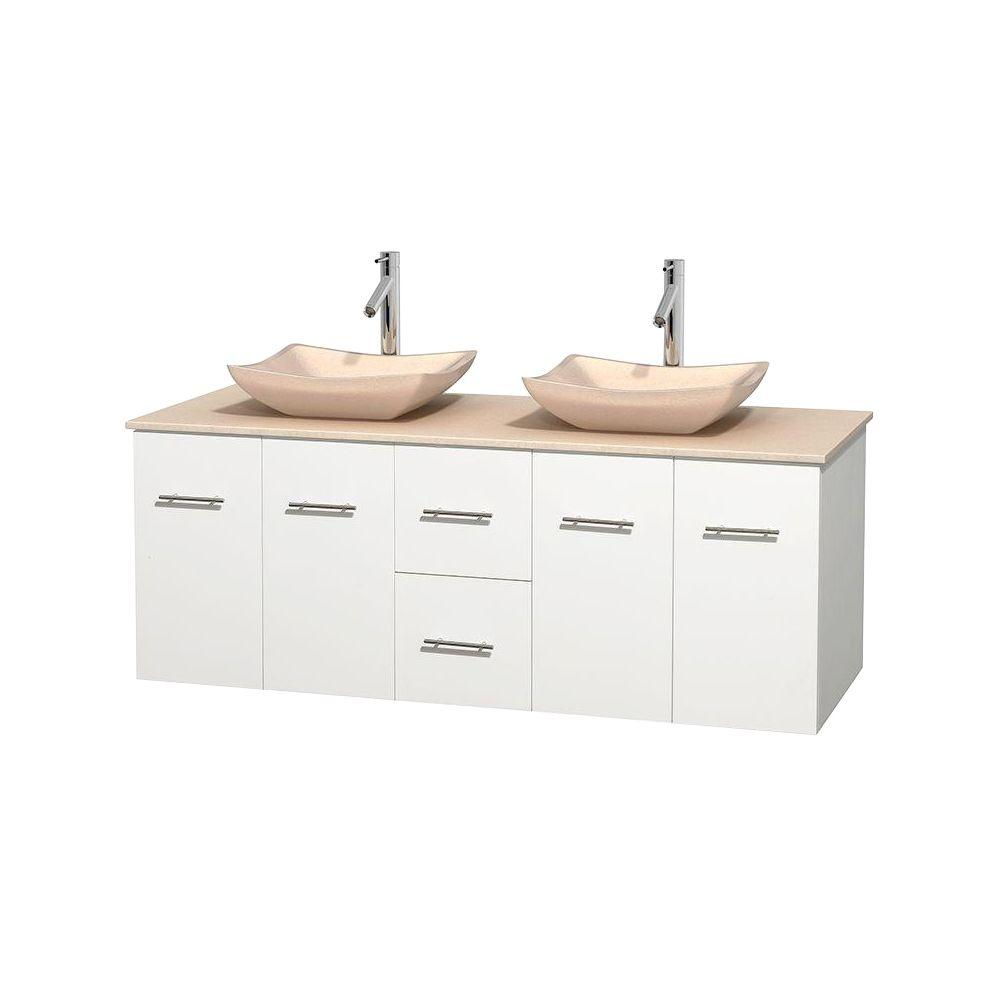 Wyndham Collection Centra 60 in. Double Vanity in White with Marble Vanity Top in Ivory and Sinks