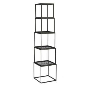 Black Stackable Etagere Open Bookcase by