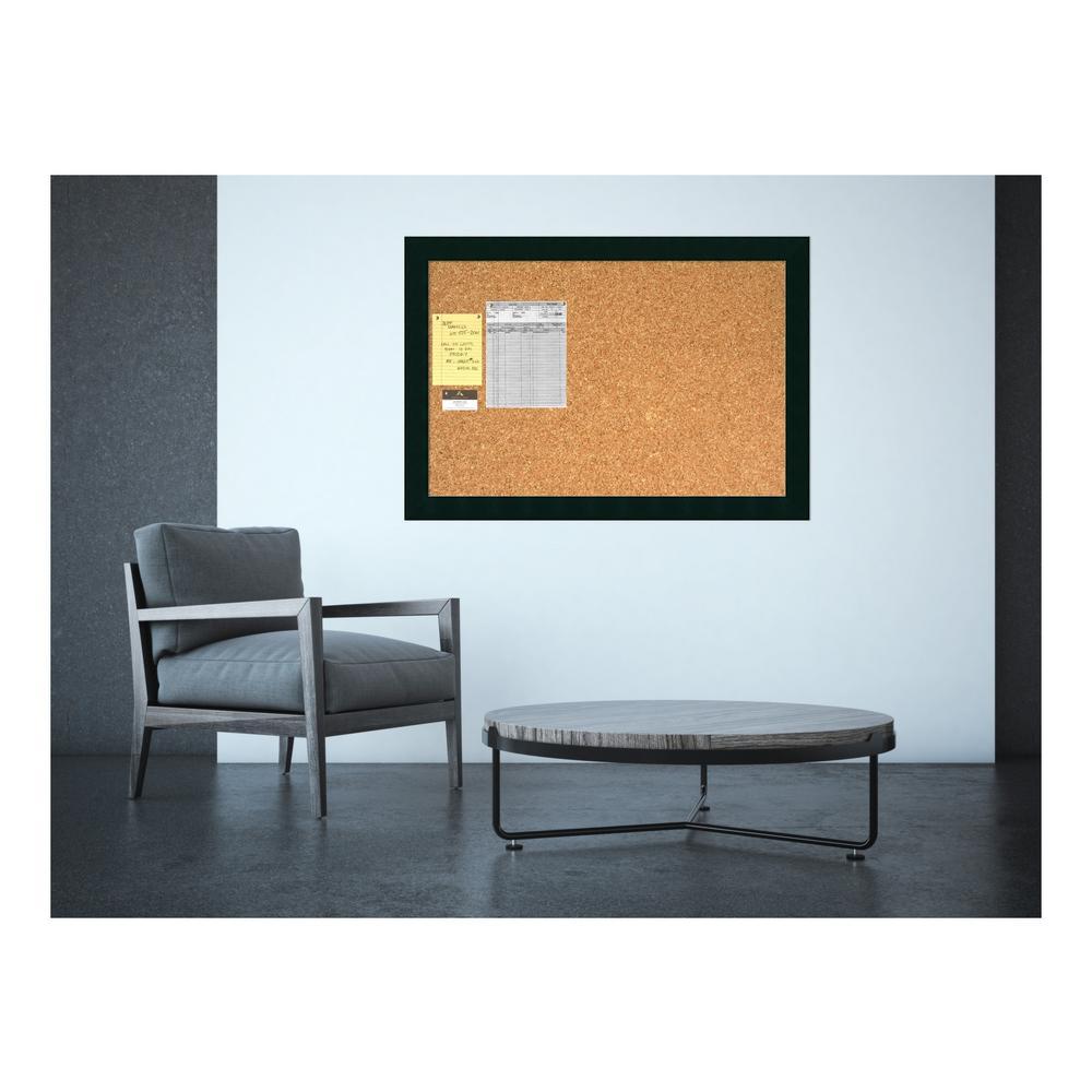 Tribecca Matte Black Square Wood 28.13 in. H x 40.13 in. W Framed Cork Board