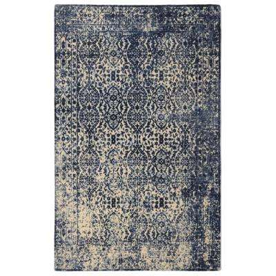 Modern Heritage Distressed Vintage Inspired Navy 5 ft. 6 in. x 8 ft. 6 in. Area Rug