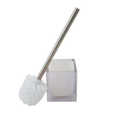 Infused Cube Stainless Steel Design Toilet Brush Set in White