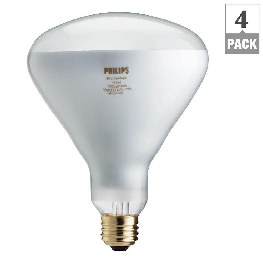 philips 65 watt equivalent halogen br40 flood light bulb 4 pack 459404 the home depot. Black Bedroom Furniture Sets. Home Design Ideas