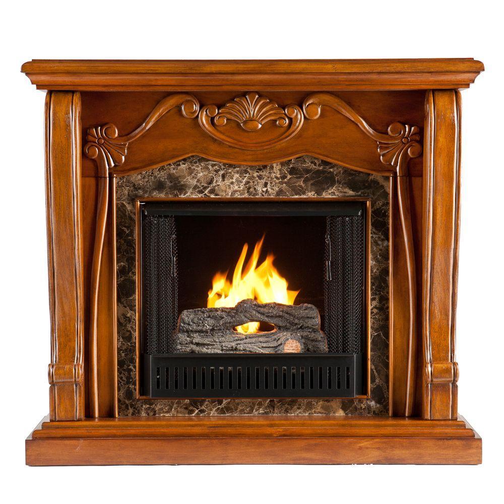 Southern Enterprises Cardona 45 in. Gel Fuel Fireplace in Walnut