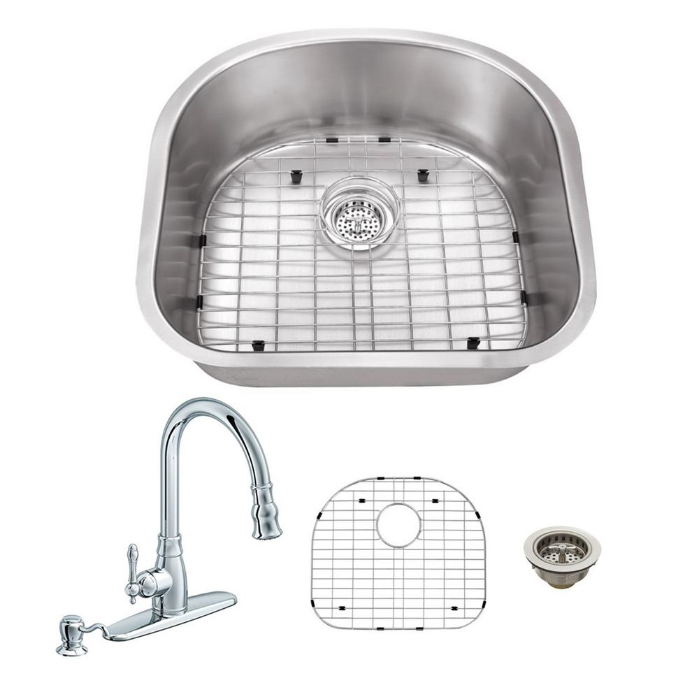IPT Sink Company All-in-One Undermount Stainless Steel 23.25 in. Single Bowl Kitchen Sink with Polished Chrome Kitchen Faucet