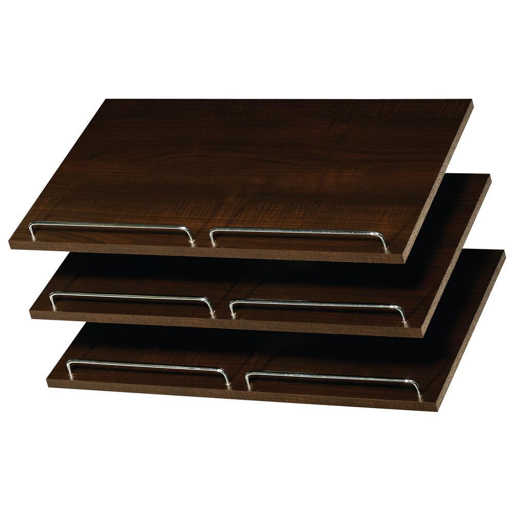 14 in. D x 24 in. W x 0.625 in. H Espresso Wood Shoe Shelves (3-Pack)