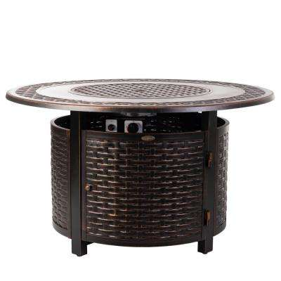 Bellante 44 in. x 24 in. Woven Aluminum LPG Fire Pit in Antique Bronze Bellante