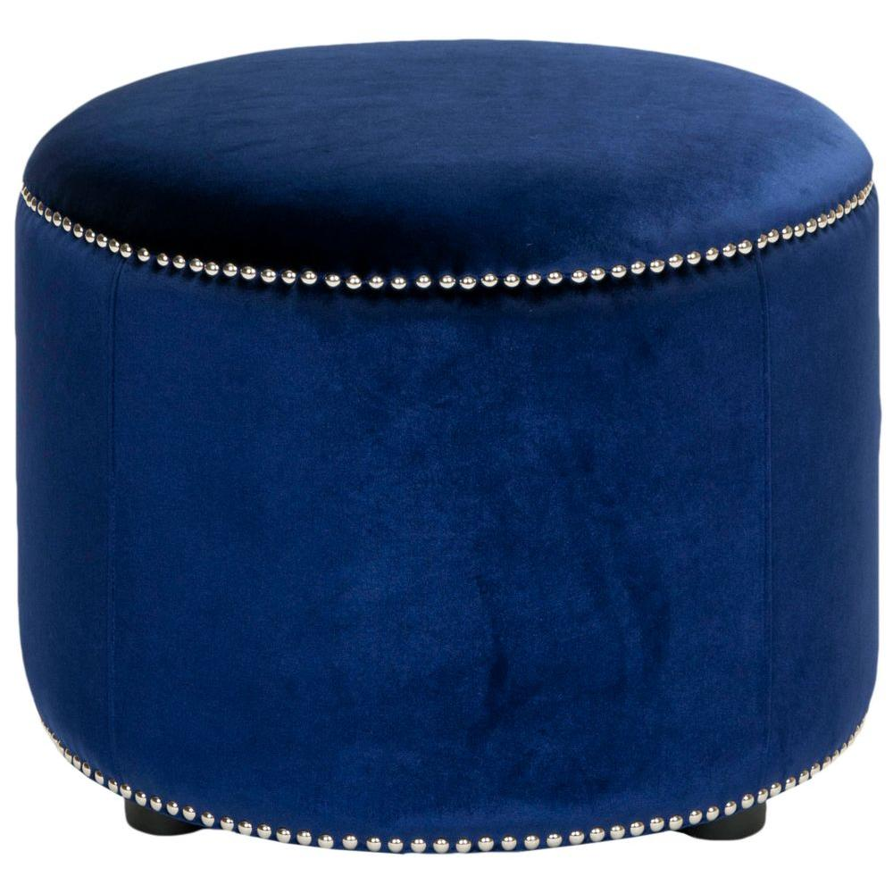 Popular Safavieh Hogan Royal Blue Accent Ottoman-HUD8208F - The Home Depot HX46