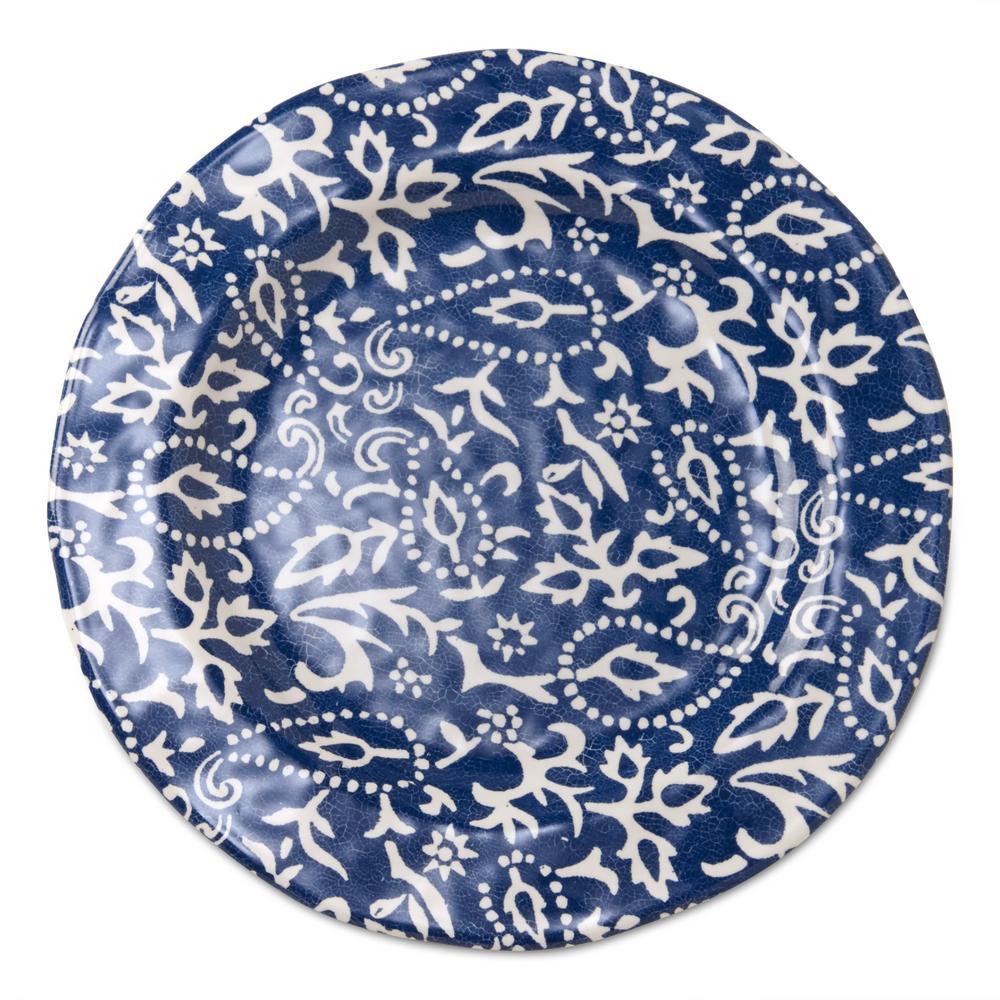 10-3/4 in. Blue Artisan Melamine Dinner Plates (Set of 4)