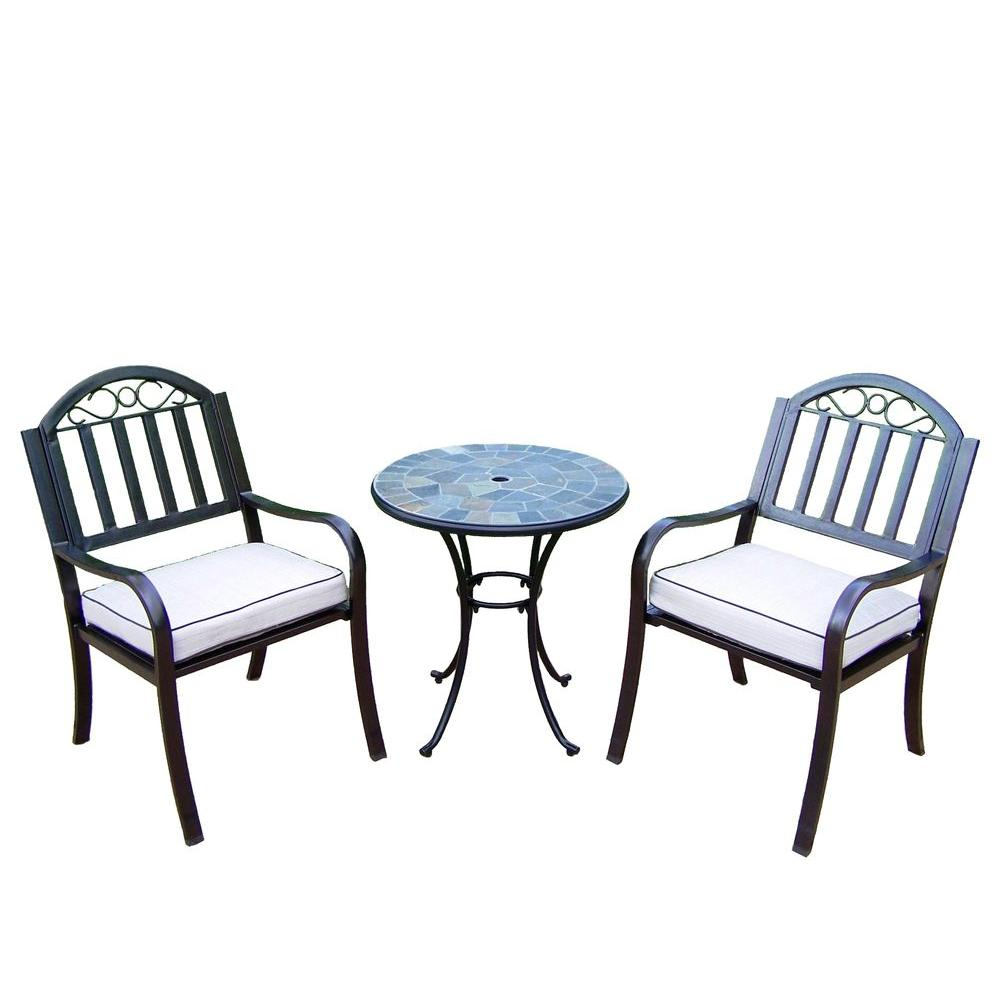 26 in. Table and Stone Art Rochester 3-Piece Patio Bistro Set