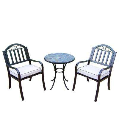 26 in. Table and Stone Art Rochester 3-Piece Patio Bistro Set with Solid Cushions
