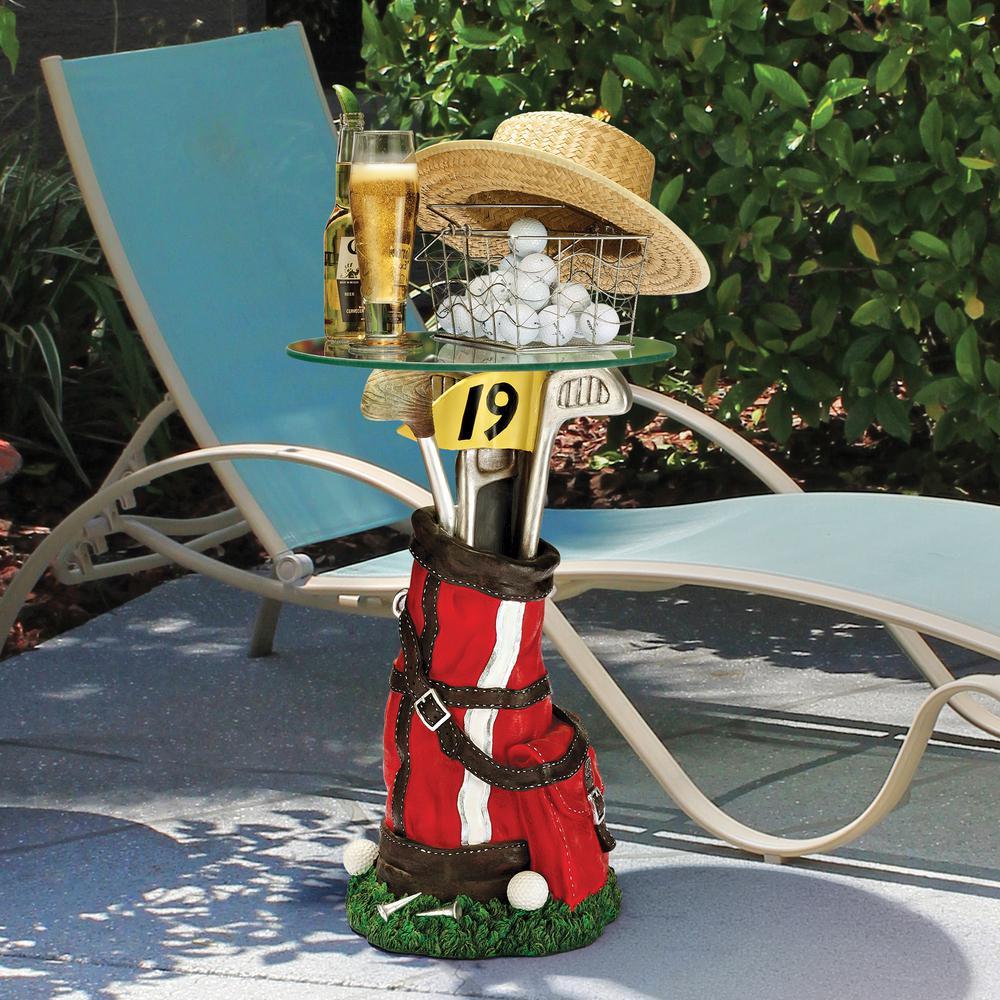 On Par Golf Bag 24.5 in. H Sculptural Polyresin Outdoor Side Table