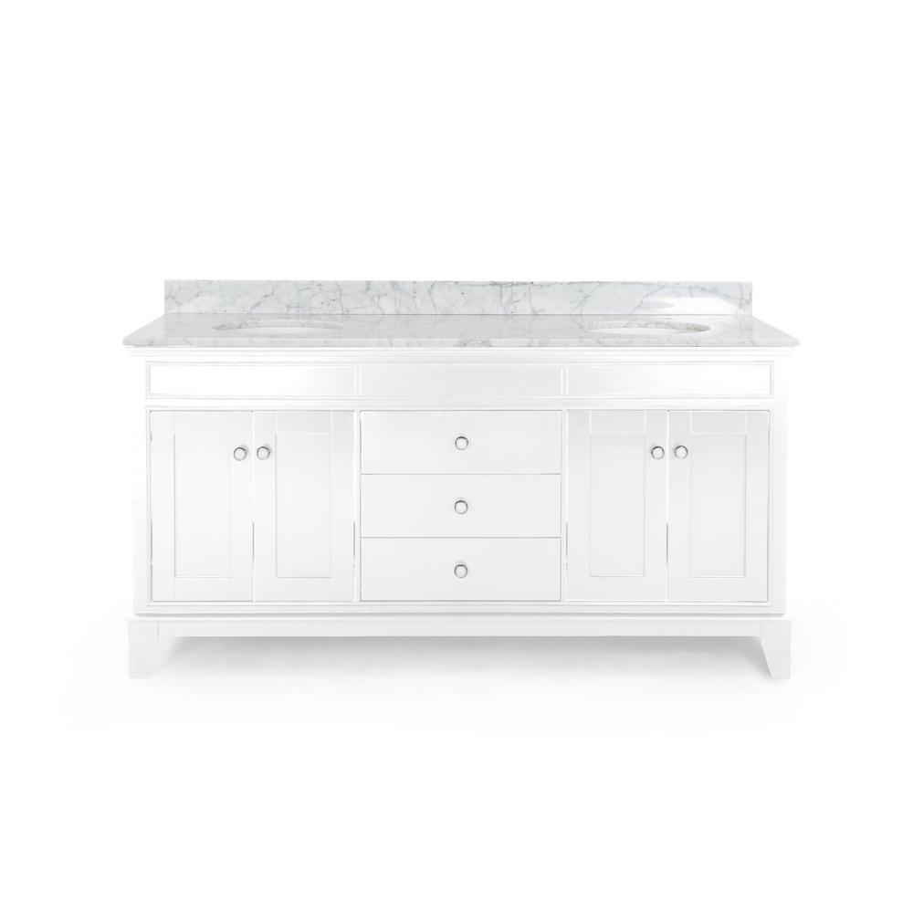 Noble House Finlee 72 in. W x 22 in. D Bath Vanity with Carrara Marble Vanity Top in White with White Basin