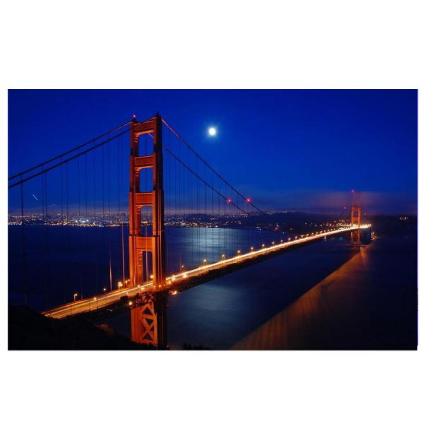 15 75 in  x 23 5 in  LED Lighted Famous San Francisco Golden Gate Bridge  Canvas Wall Art