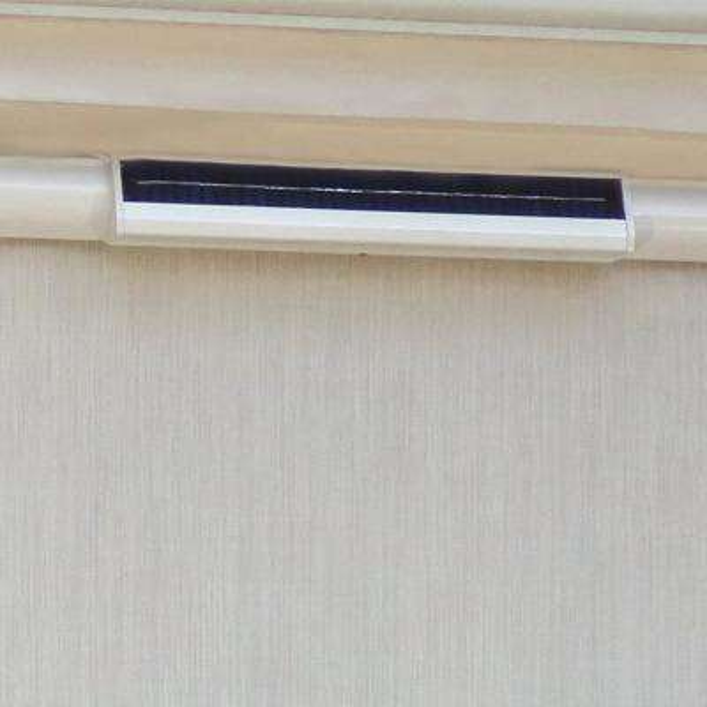 Cream Vinyl Exterior Solar Shade Solar-Powered with Full White Cassette - 120 in. W x 84 in. L