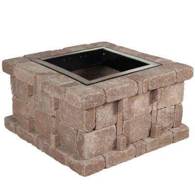 RumbleStone 38.5 in. x 21 in. Square Concrete Fire Pit Kit No. 4 in Cafe