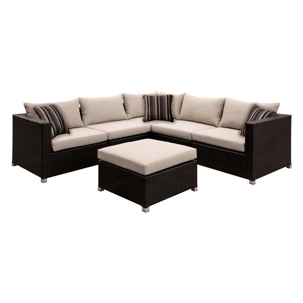 Venetian Worldwide Corbyn 7-Piece Patio Seating Set With Beige Cushions