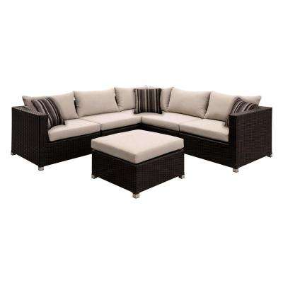 Corbyn 7-Piece Patio Seating Set With Beige Cushions