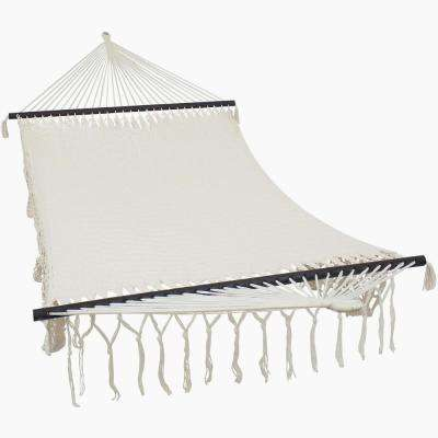 American Deluxe Style 12.5 ft. Free Standing Mayan Hand-Woven Rope Hammock in Beige