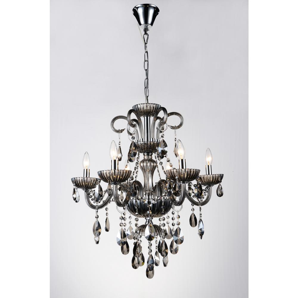 Cwi lighting casper 6 light chrome chandelier 8393p24c 6 smoke cwi lighting casper 6 light chrome chandelier aloadofball Image collections