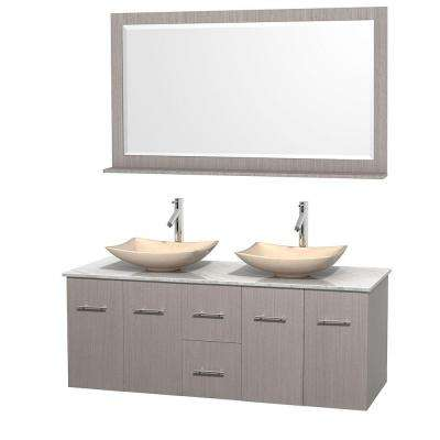Centra 60 in. Double Vanity in Gray Oak with Marble Vanity Top in Carrara White, Ivory Marble Sinks and 58 in. Mirror
