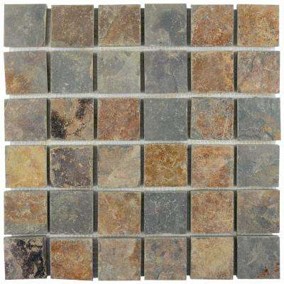 Crag Quad Sunset Slate 12 in. x 12 in. x 13 mm Natural Stone Mosaic Tile