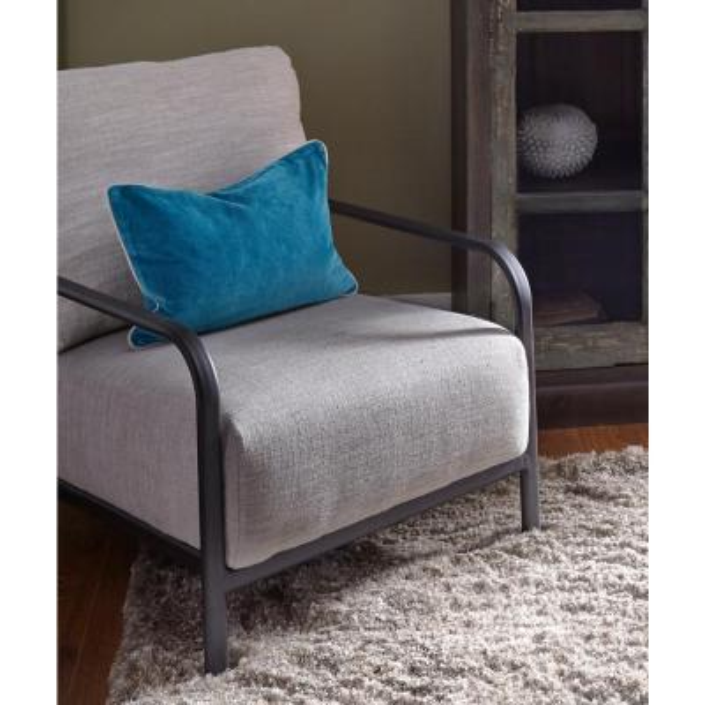 Heirloom Velvet 14 in. x 20 in. Rectangle Solid Stonewash Marine Throw Pillow