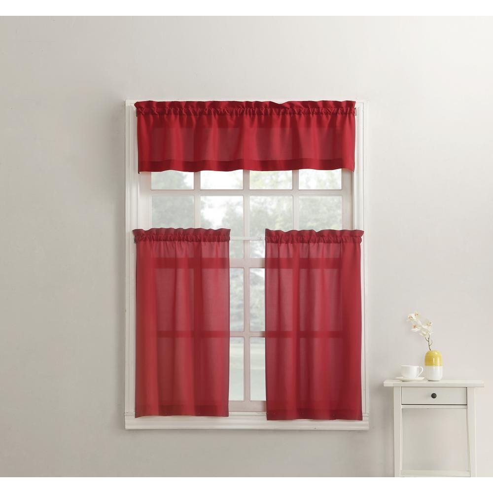 Martine Red Microfiber Kitchen Curtains 3 Piece Set 54 In W X 36 L