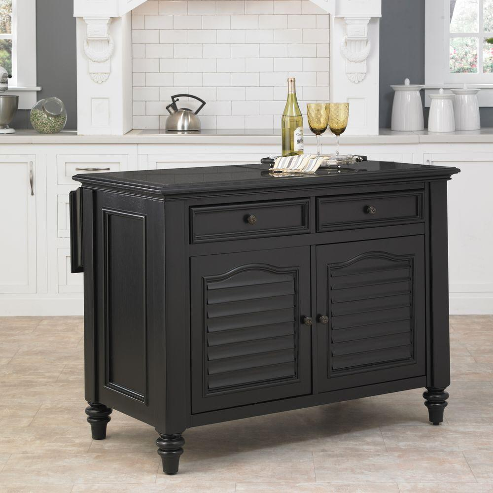 Home Styles Wood Kitchen Island in Black Finish