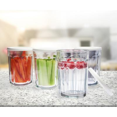 Working 21 oz. Glass Storage Jar and Cooler with White Lid (Set of 4)
