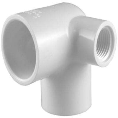 3/4 in. x 3/4 in. x 1/2 in. PVC Sch. 40 90-Degree S x S x Female Pipe Thread Elbow with Side Out