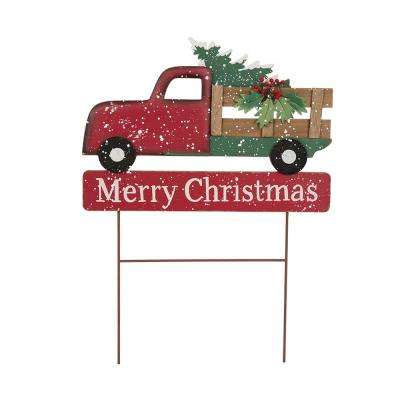 24.02 in. H Iron/Wooden Christmas Truck Yard Stack