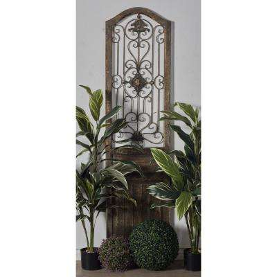 """72 in. x 19 in. """"Arched Door Panel with Iron Scrollwork and Medallion"""" Framed Wooden Wall Art"""