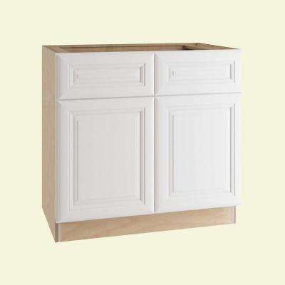 Brookfield Assembled  36x34.5x21 in. Vanity Sink Base Cabinet with 2 Doors and 2 False Drawer Fronts in Pacific White